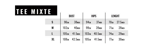 Mixed tshirt size guide