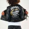 Eudoxie Veste Cuir Femme Moto Serigraphie